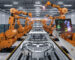 3d rendering cyborg control robot assembly line in car factory